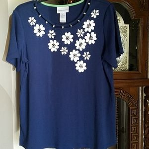 Alfred Dunner, 0010, Navy Top, short sleeves, Sz M